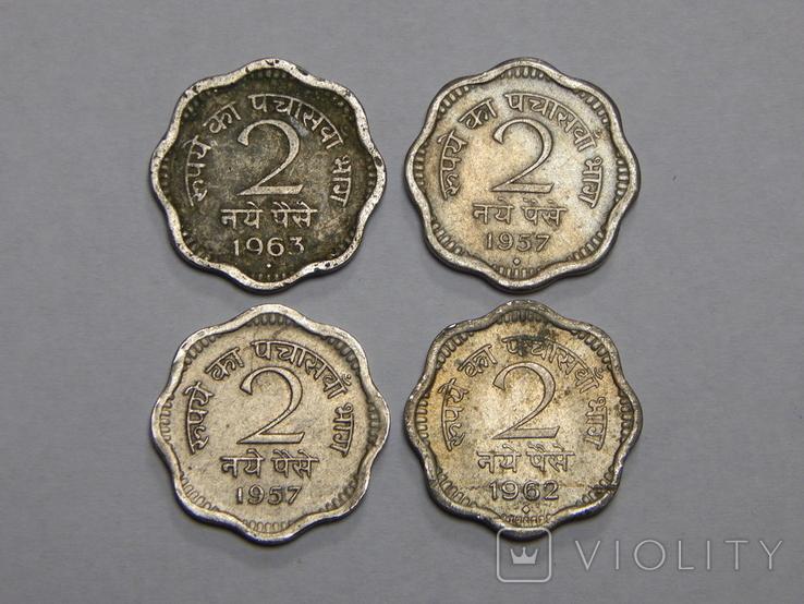 4 монеты по 2 пайсы, Индия, фото №2