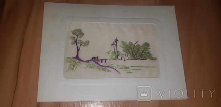 Открытка листівка китайськая вышивка, фото №2