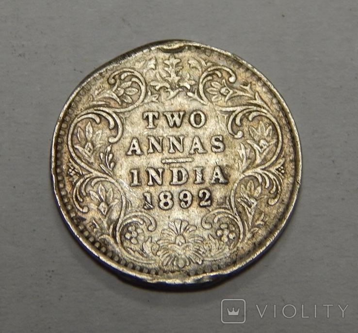 2 анна, 1892 г Индия, фото №2