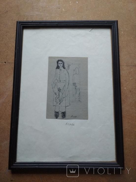 """""""С цветком"""" б.тушь. 13 х 8 см. Анат.Асаба (1943-1986), фото №3"""