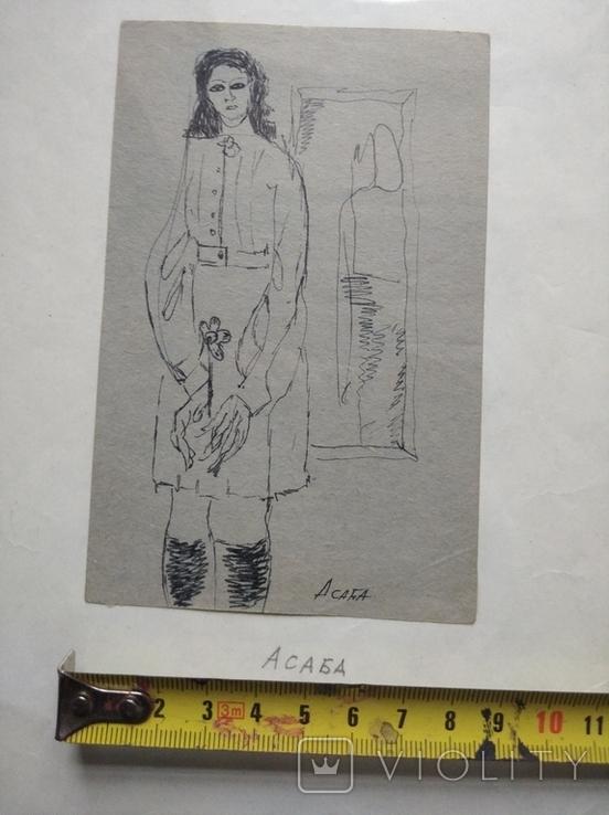 """""""С цветком"""" б.тушь. 13 х 8 см. Анат.Асаба (1943-1986), фото №5"""
