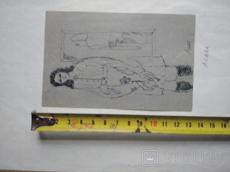 """""""С цветком"""" б.тушь. 13 х 8 см. Анат.Асаба (1943-1986), фото №6"""