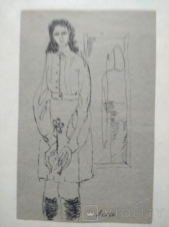 """""""С цветком"""" б.тушь. 13 х 8 см. Анат.Асаба (1943-1986), фото №8"""