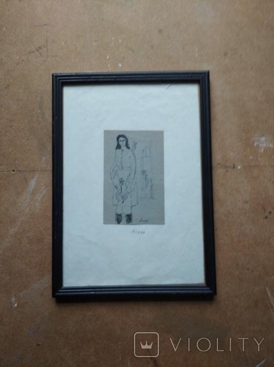 """""""С цветком"""" б.тушь. 13 х 8 см. Анат.Асаба (1943-1986), фото №2"""
