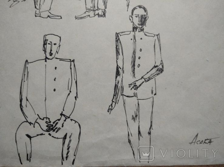 """Где ты мой друг"" б.тушь. (формат А4),Ан.Асаба(1943-1976), фото №3"