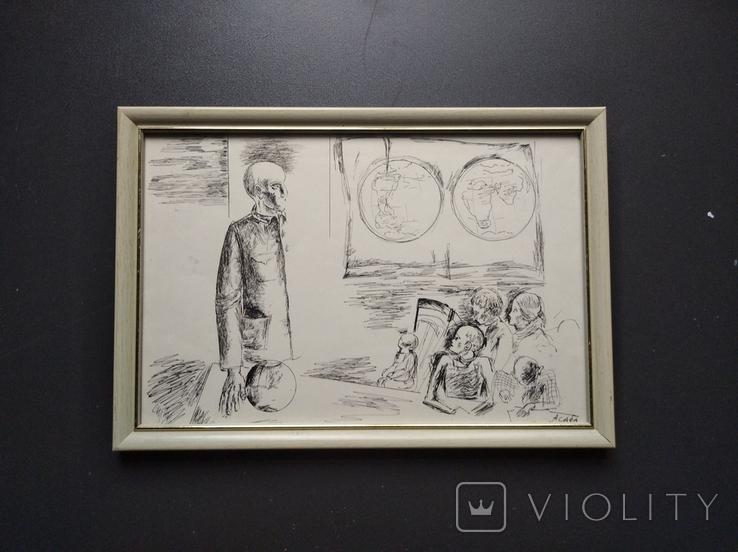 """Учитель"" б.тушь. 20х30. Ан. Асаба (1943-1976), фото №2"