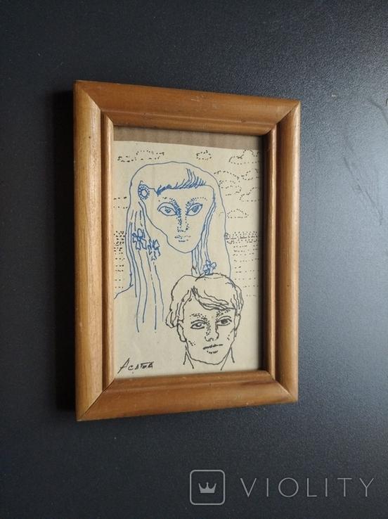 """Он и Она"" б.тушь. 18х10 см. Ан. Асаба (1943-1976), фото №4"