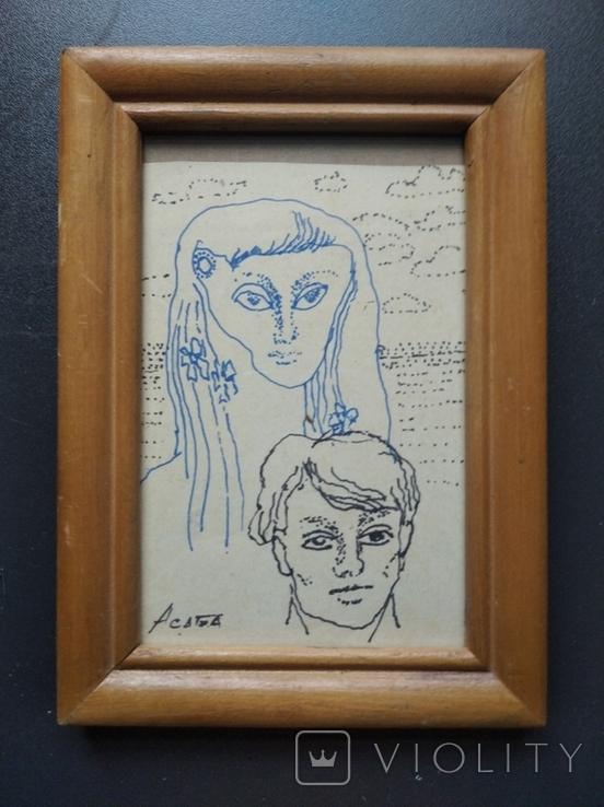 """Он и Она"" б.тушь. 18х10 см. Ан. Асаба (1943-1976), фото №8"