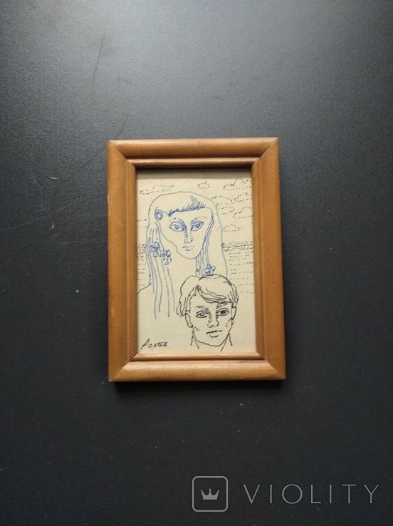 """Он и Она"" б.тушь. 18х10 см. Ан. Асаба (1943-1976), фото №2"