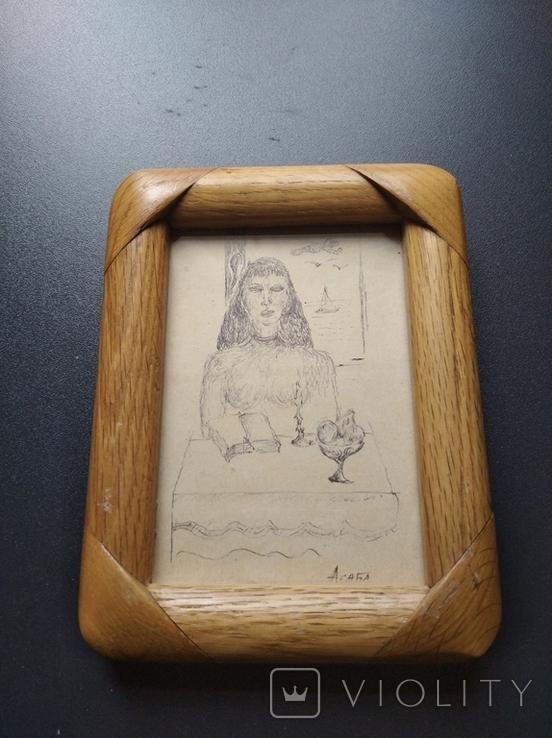 """""""За столом"""" б.тушь. 13 х 9. Ан. Асаба(1943-1976), фото №3"""