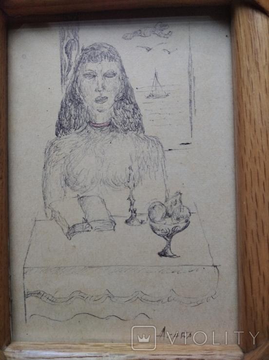 """""""За столом"""" б.тушь. 13 х 9. Ан. Асаба(1943-1976), фото №9"""