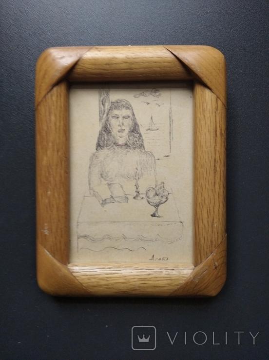"""""""За столом"""" б.тушь. 13 х 9. Ан. Асаба(1943-1976), фото №10"""