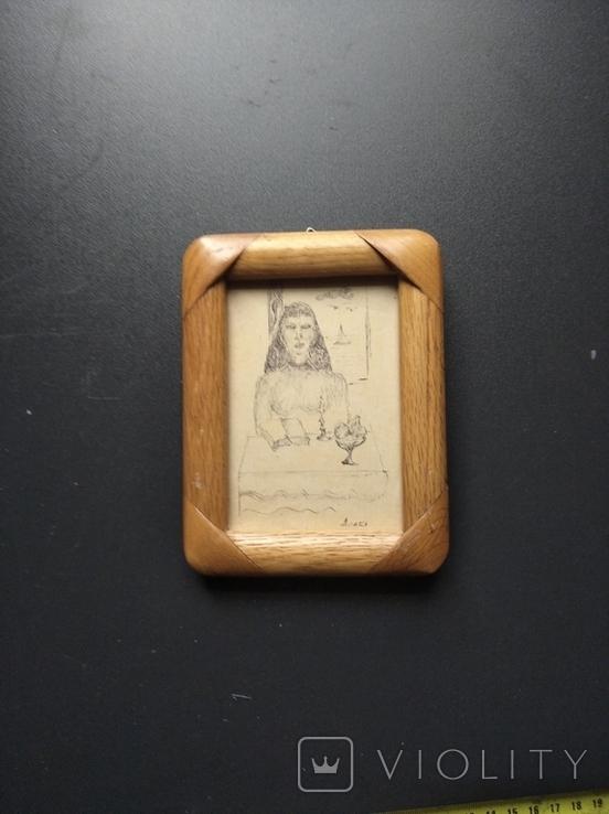 """""""За столом"""" б.тушь. 13 х 9. Ан. Асаба(1943-1976), фото №2"""