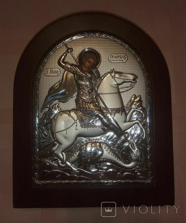 """Икона в серебряном окладе """"Георгий Победоносец побеждающий Змия"""" Греция, фото №2"""