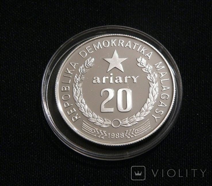 Мадагаскар 20 ариари, 1988 - ФАУНА. Лемур - серебро, фото №3