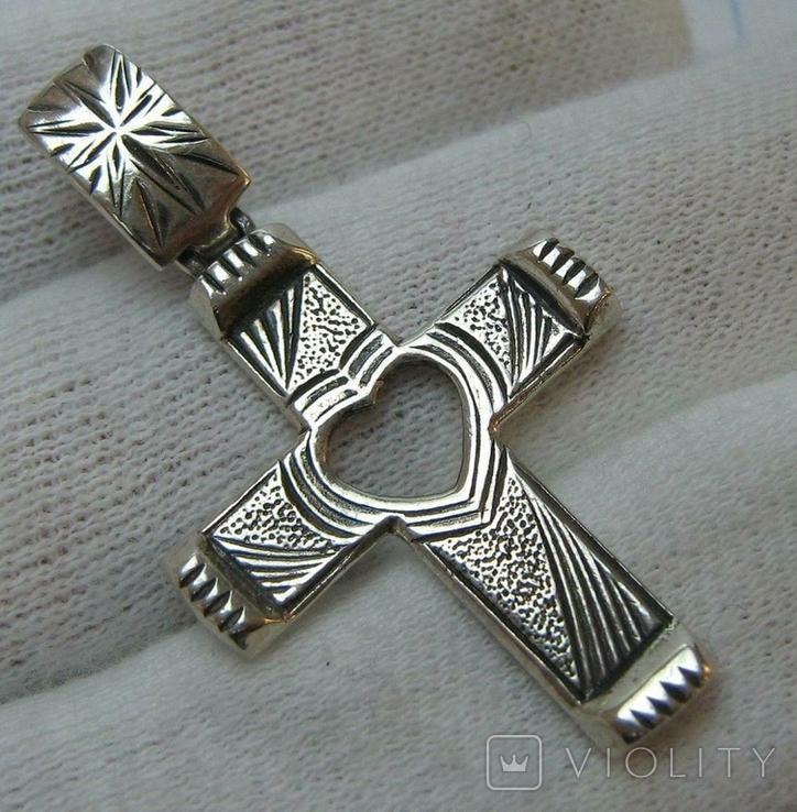 Серебряный Крест Крестик Сердце Символ Веры Любви Стилизация Фактура 925 проба Серебро 225, фото №2