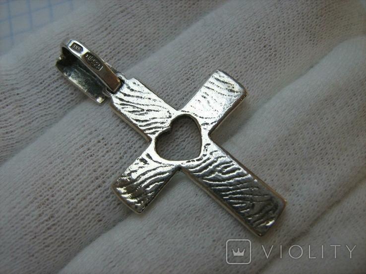 Серебряный Крест Крестик Сердце Символ Веры Любви Стилизация Фактура 925 проба Серебро 225, фото №3