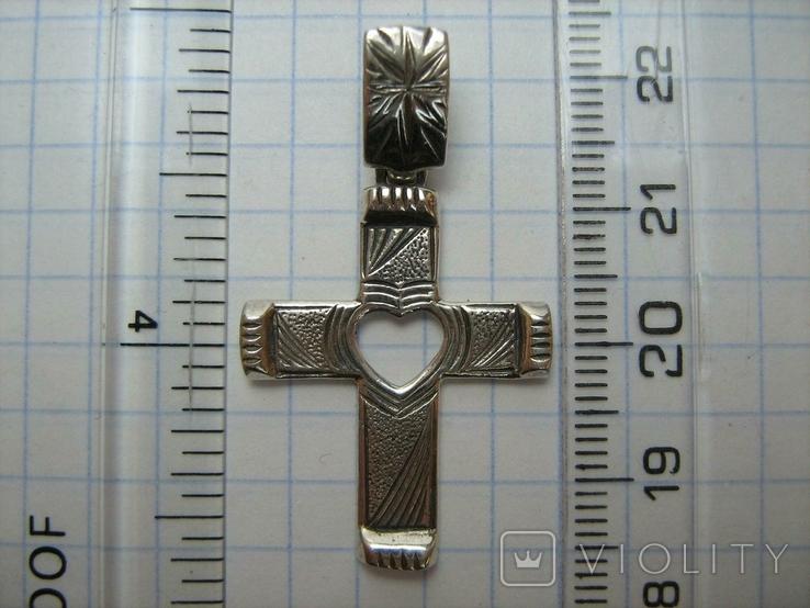 Серебряный Крест Крестик Сердце Символ Веры Любви Стилизация Фактура 925 проба Серебро 225, фото №4
