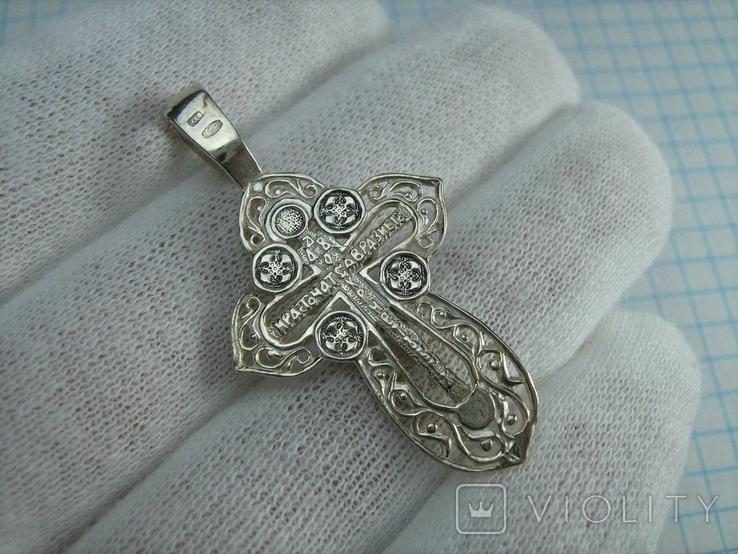 Серебряный Крест Крестик Распятие Молитва Да воскреснет Бог 925 проба Серебро 432, фото №3