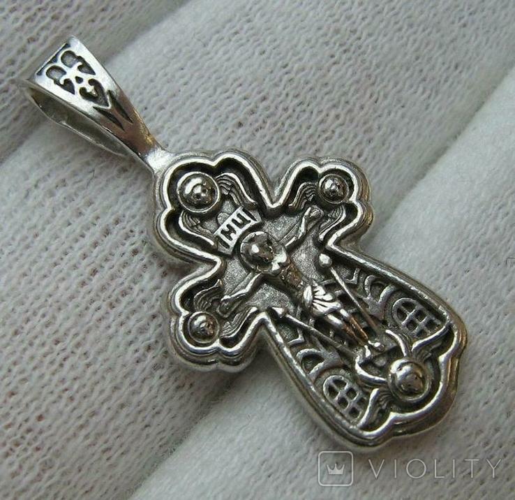 Серебряный Крест Крестик Ангелы Крылья Молитва Да воскреснет Бог 925 проба Серебро 346, фото №2