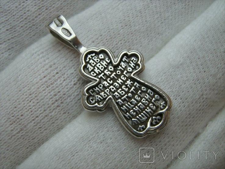 Серебряный Крест Крестик Ангелы Крылья Молитва Да воскреснет Бог 925 проба Серебро 346, фото №3
