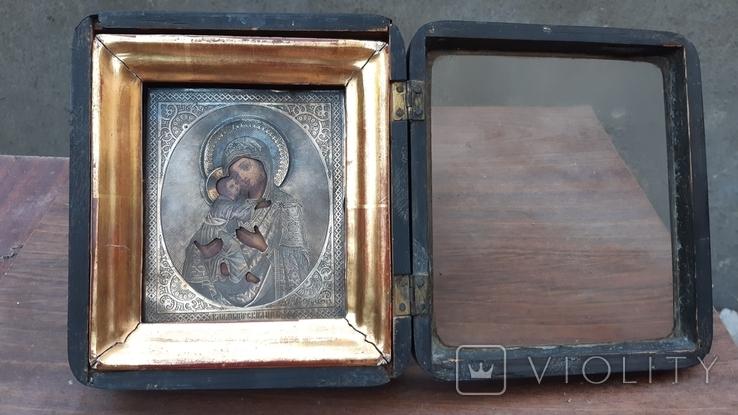 Икона Богородица Владимирская оклад серебро 84, фото №5