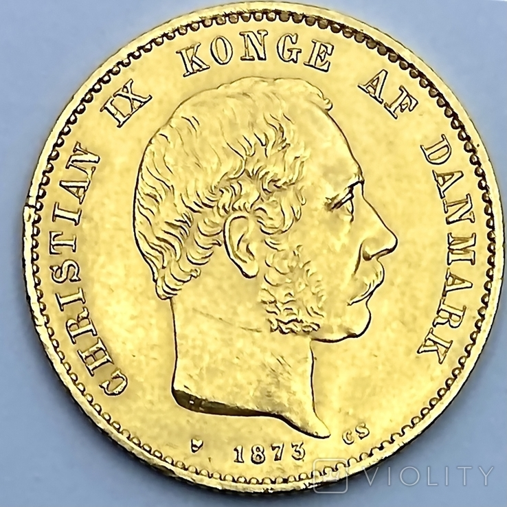20 крон. 1873. Кристиан IX. Дания. (золото 900, вес 8,96 г)