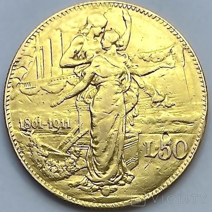 """50 лир. 1911. """"50 лет Королевству"""" Италия (R) (золото 900, вес 15,66 г), фото №3"""