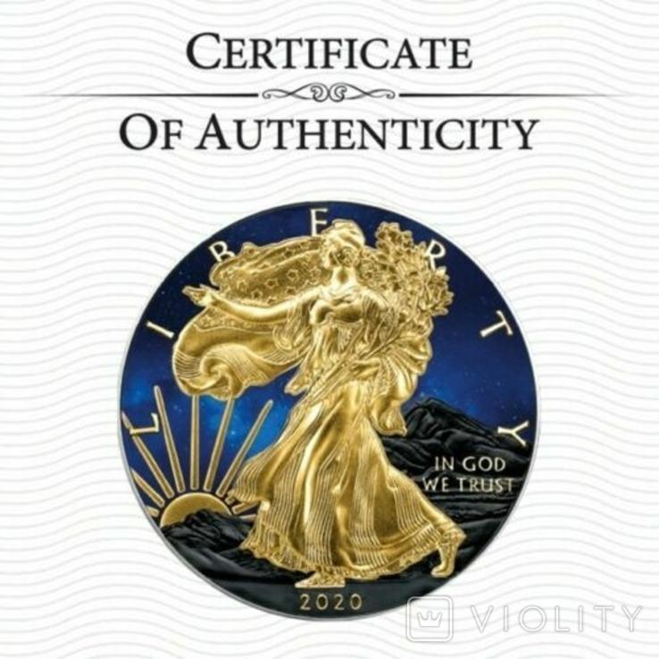 Серебро США.1 унция серебра (31.1 гр.).ЭксклюзивТираж 50 монет, фото №4