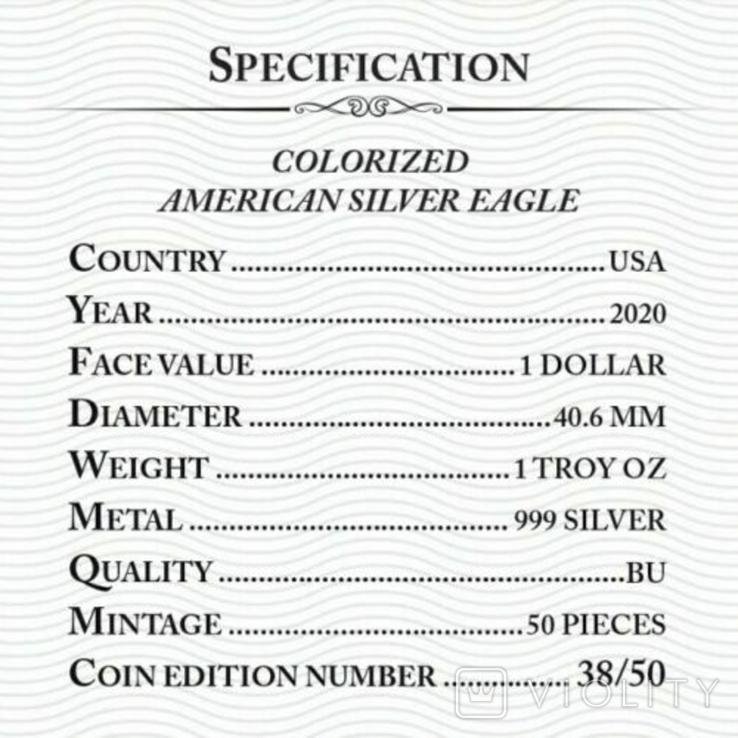 Серебро США.1 унция серебра (31.1 гр.).ЭксклюзивТираж 50 монет, фото №5