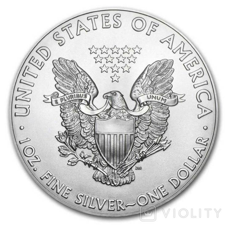 Серебро США.1 унция серебра (31.1 гр.).ЭксклюзивТираж 50 монет, фото №3