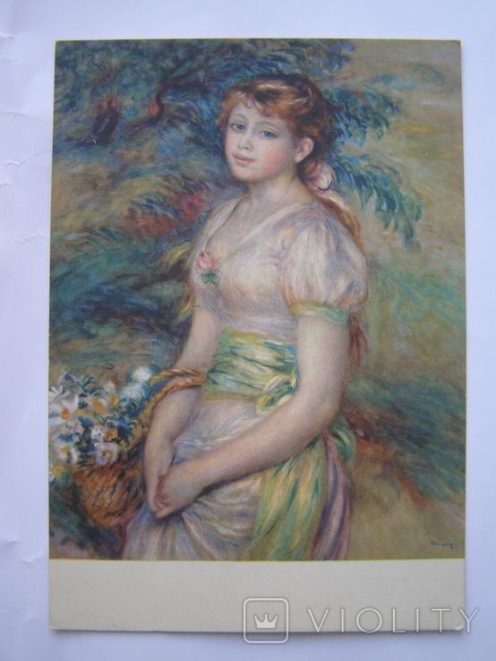 Молодая девушка с корзиной цветов. худ. Ренуар пр-ва ГДР, фото №3