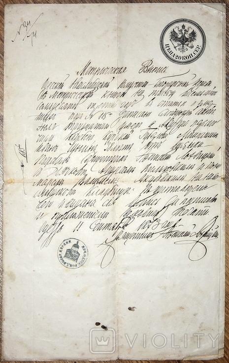 Метрическая выпись на гербовой бумаге 1873г. Одесса