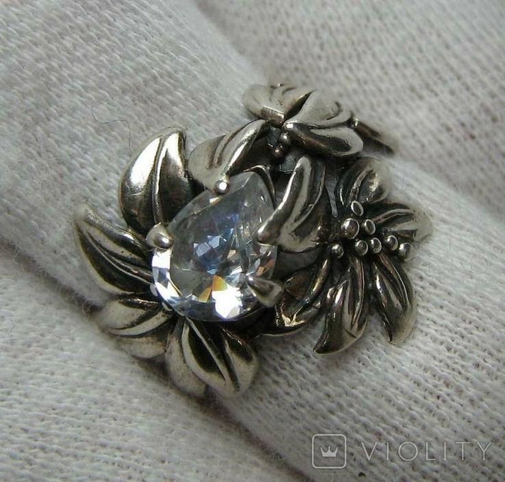 Серебряное Кольцо Размер 16.25 Камни Белые Цветок Цветы Лист Листья 925 проба Серебро 242, фото №2