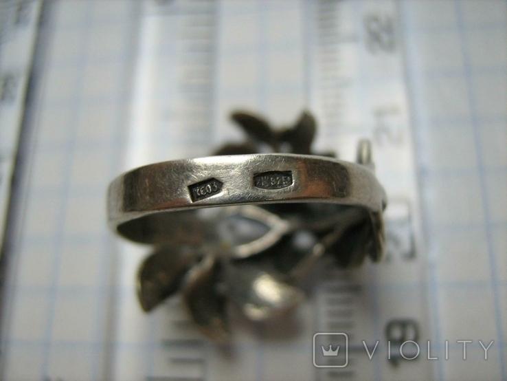 Серебряное Кольцо Размер 16.25 Камни Белые Цветок Цветы Лист Листья 925 проба Серебро 242, фото №7