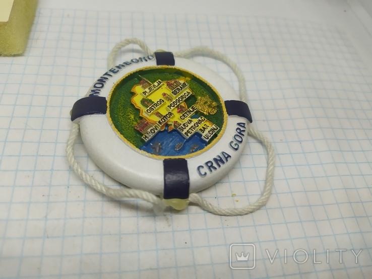 Магнит Черногория. Спасательный круг. Диаметр 60мм, фото №3