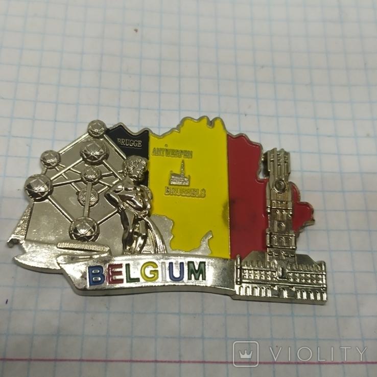 Магнит Бельгия. Металл. 70х45мм, фото №2