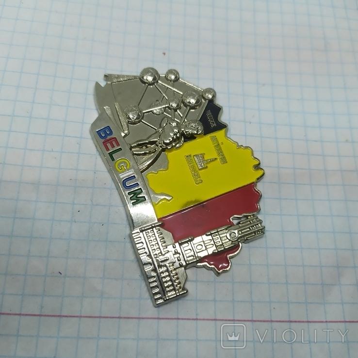 Магнит Бельгия. Металл. 70х45мм, фото №3