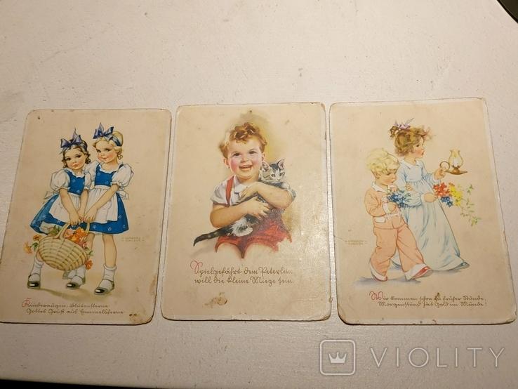 """Три германских открытки """"Дети"""", фото №2"""