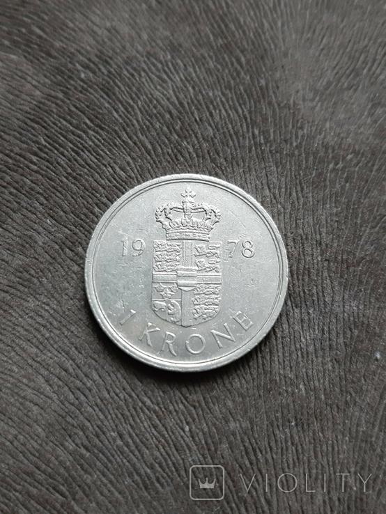 Дания 1 крона 1978, фото №3