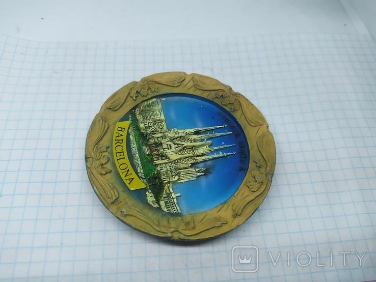 Магнит Испания, Барселона. диаметр 75мм, фото №3