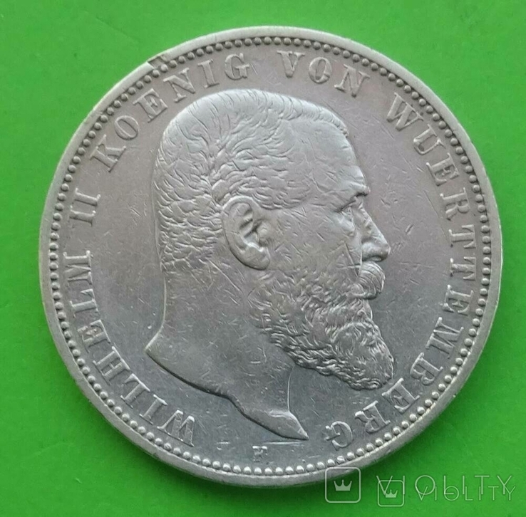 5 марок, 1899 год, Вюртемберг,, фото №2