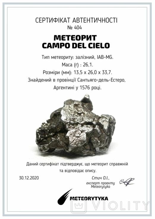 Залізний метеорит Campo del Cielo, 26,1 грам, із сертифікатом автентичності, фото №11