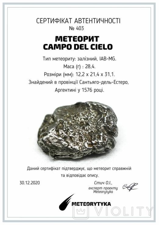 Залізний метеорит Campo del Cielo, 28,4 грам, із сертифікатом автентичності, фото №10