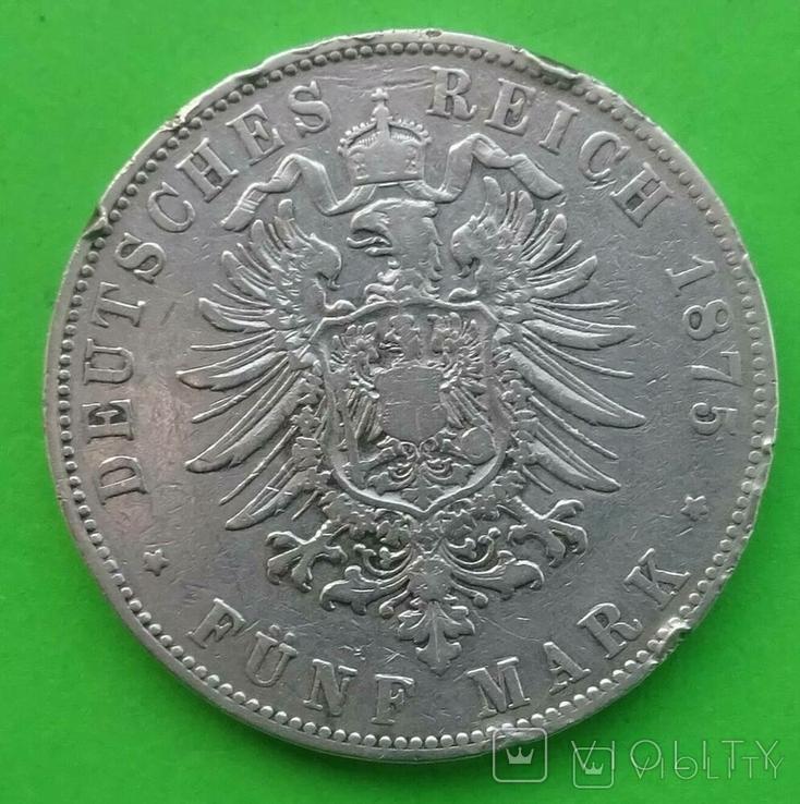 5 марок, 1875 год, G, Баден,, фото №7