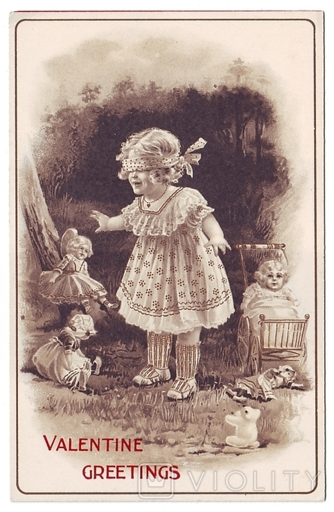 С Днём Святого Валентина Девочка и куклы. Чистая, 1910 г., фото №2
