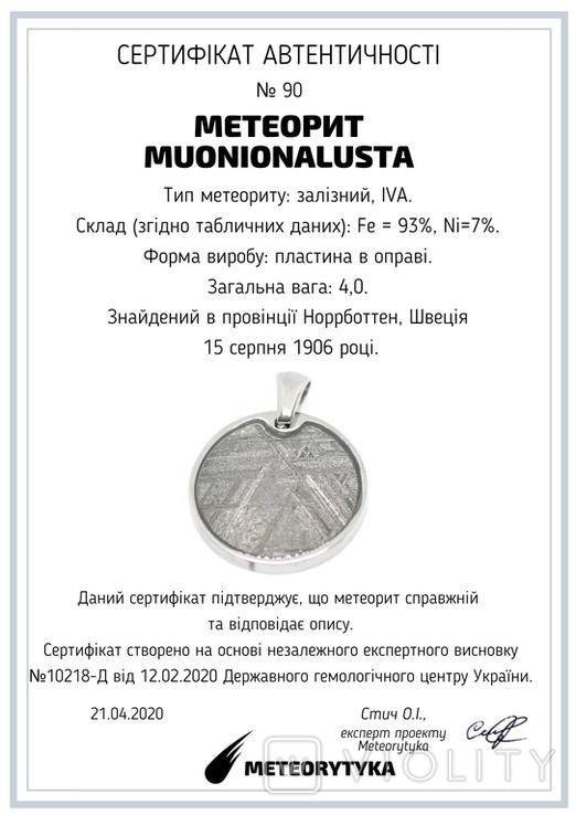 Підвіска із залізним метеоритом Muonionalusta, із сертифікатом автентичності, фото №10