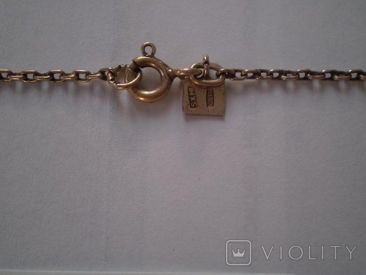 Кулон серебро 875 проба аметист на цепочке в родной коробочке, фото №6