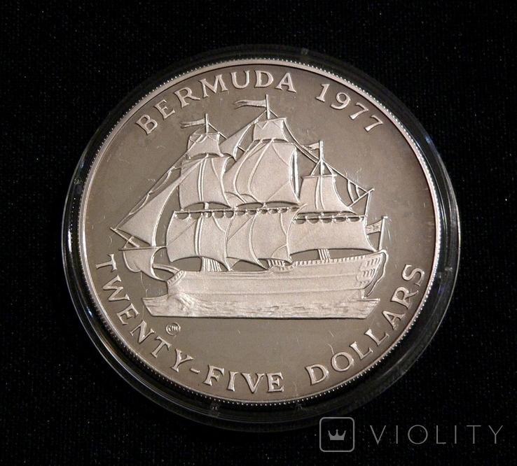 Бермудские Острова, 25 долларов, 1977 - 25 лет правления Елизаветы II - серебро 54.75 г., фото №2