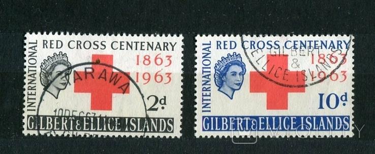Британские колонии. Острова Гилберта и Эллис. 1963 г.  100 лет Красного креста., фото №2